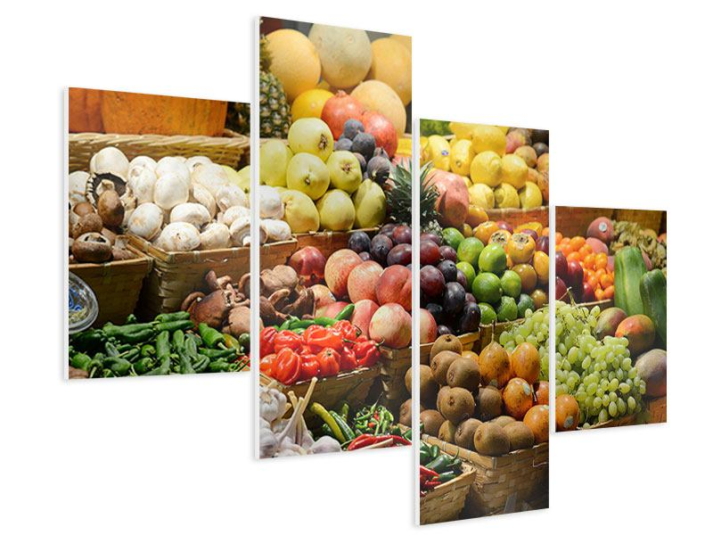 Hartschaumbild 4-teilig modern Obstmarkt