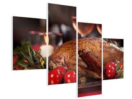 Hartschaumbild 4-teilig modern Köstliches Geflügel