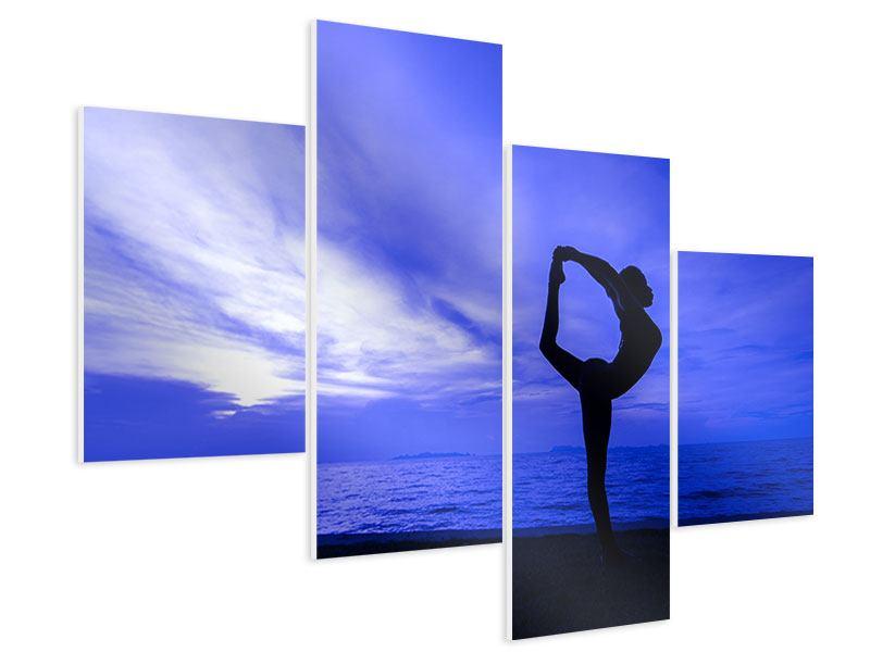 Hartschaumbild 4-teilig modern Yogaübung am Strand