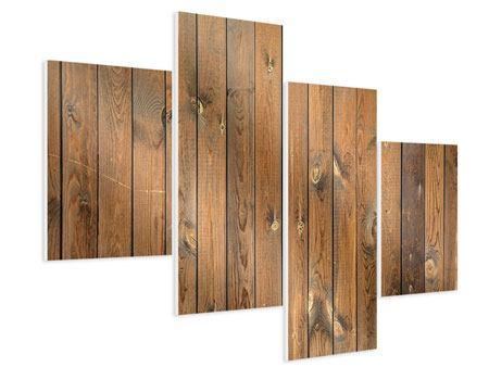 Hartschaumbild 4-teilig modern Bretterwand
