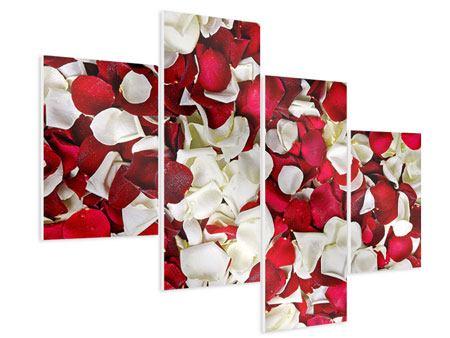 Hartschaumbild 4-teilig modern Rosenblätter