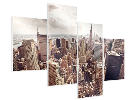 Hartschaumbild 4-teilig modern Skyline Über den Dächern Manhattans