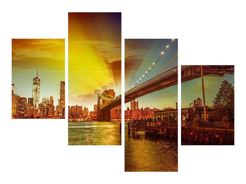 Hartschaumbild 4-teilig modern Skyline Brooklyn Bridge NY