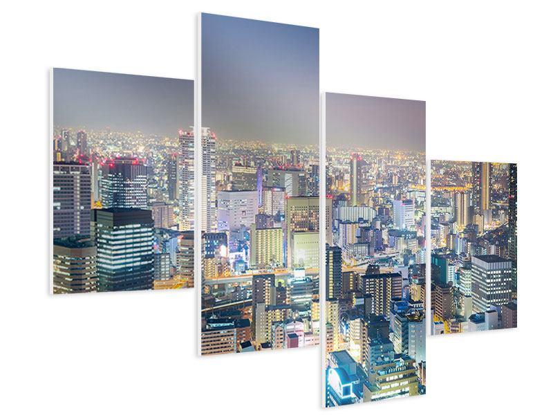 Hartschaumbild 4-teilig modern Skyline Osaka bei Sonnenuntergang