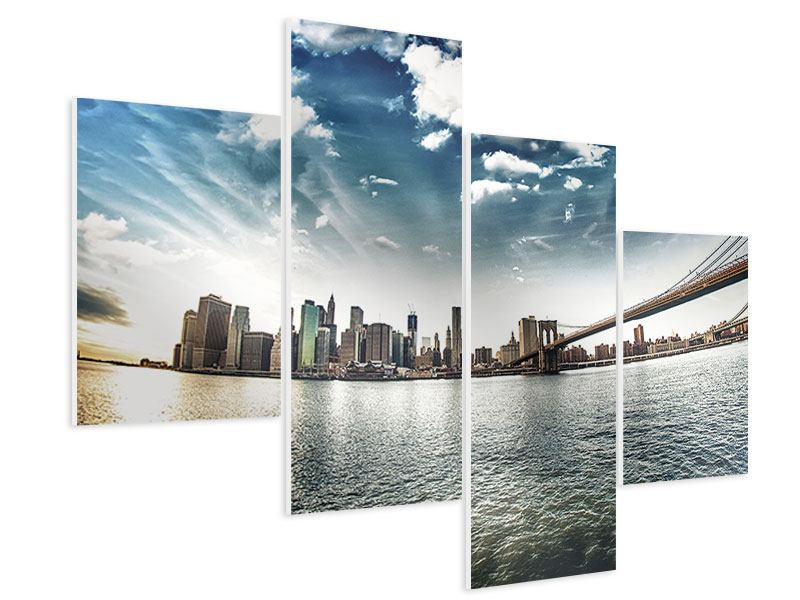 Hartschaumbild 4-teilig modern Brooklyn Bridge From The Other Side