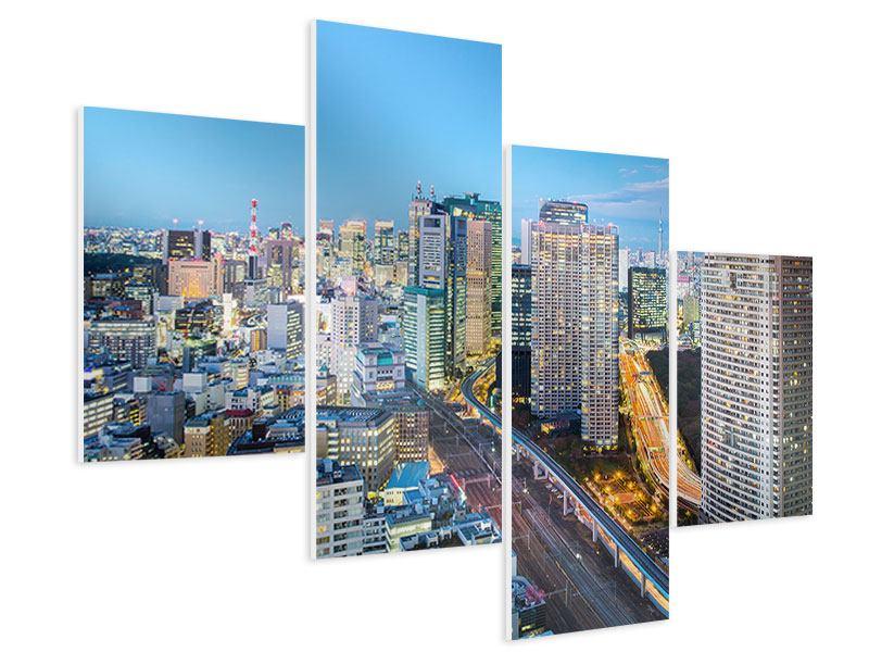 Hartschaumbild 4-teilig modern Skyline Tokio im Lichtermeer