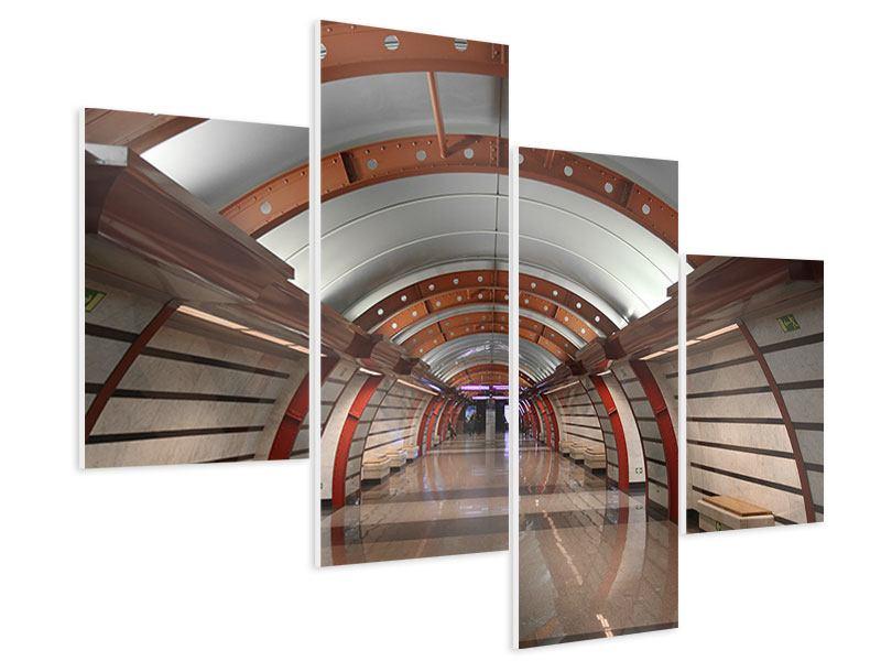 Hartschaumbild 4-teilig modern U-Bahn Station