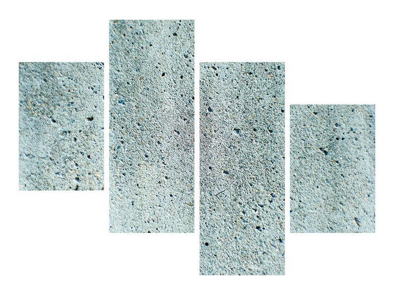 Hartschaumbild 4-teilig modern Beton in Grau
