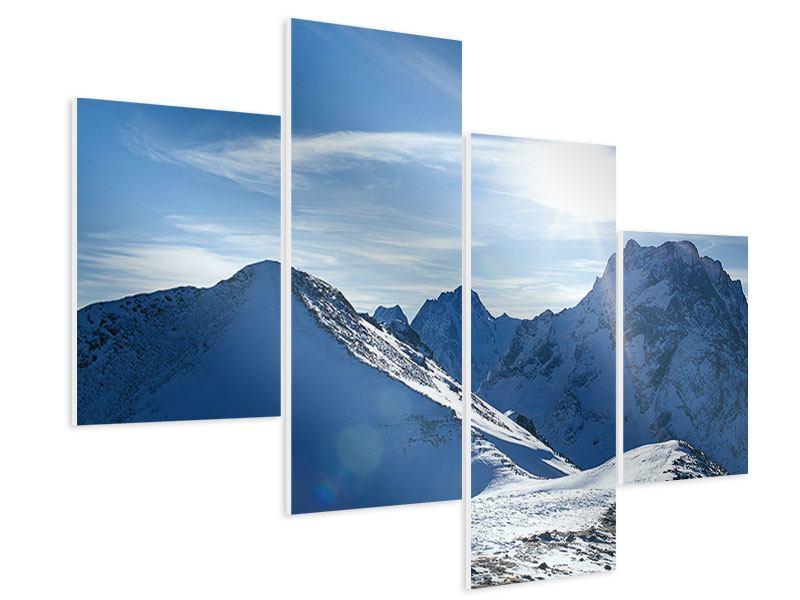 Hartschaumbild 4-teilig modern Der Berg im Schnee