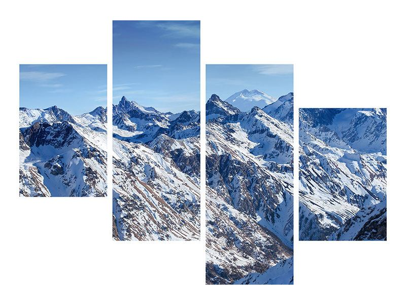 Hartschaumbild 4-teilig modern Gipfelspitzen