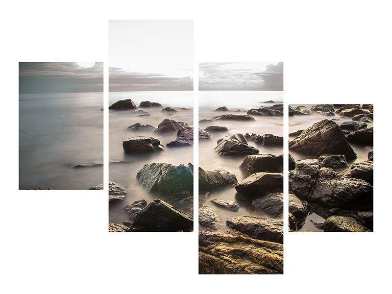Hartschaumbild 4-teilig modern Steine am Strand