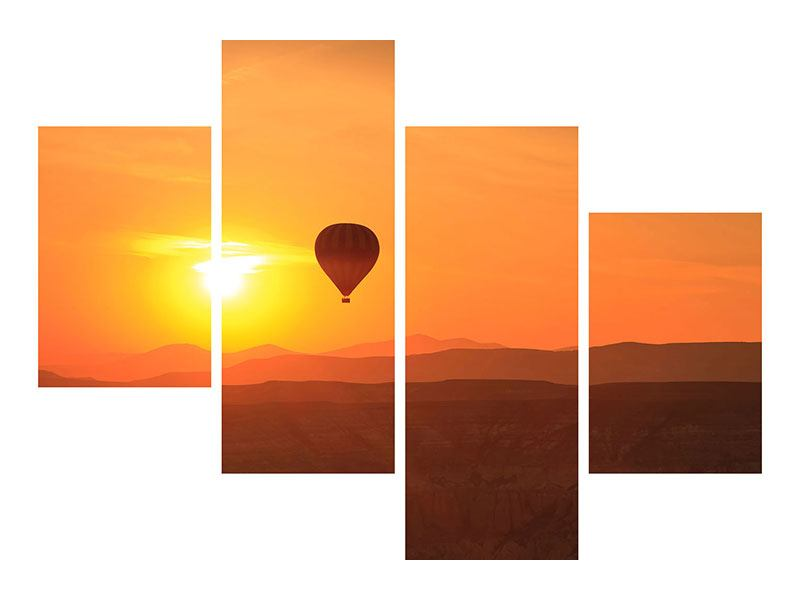 Hartschaumbild 4-teilig modern Heissluftballon bei Sonnenuntergang