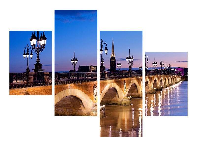 Hartschaumbild 4-teilig modern Pont De Pierre bei Sonnenuntergang