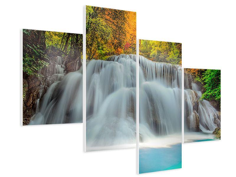 Hartschaumbild 4-teilig modern Fallendes Gewässer