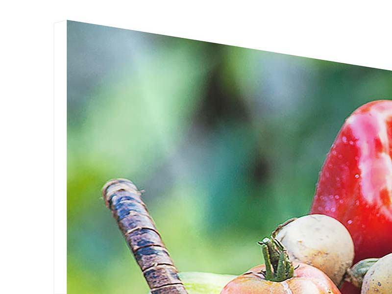 Hartschaumbild 4-teilig modern Gemüsekorb