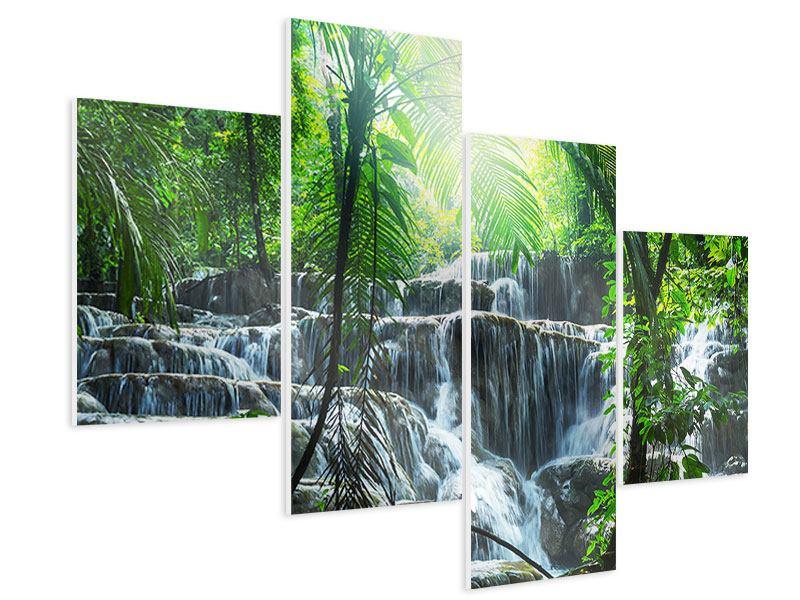 Hartschaumbild 4-teilig modern Wasserfall Agua Azul