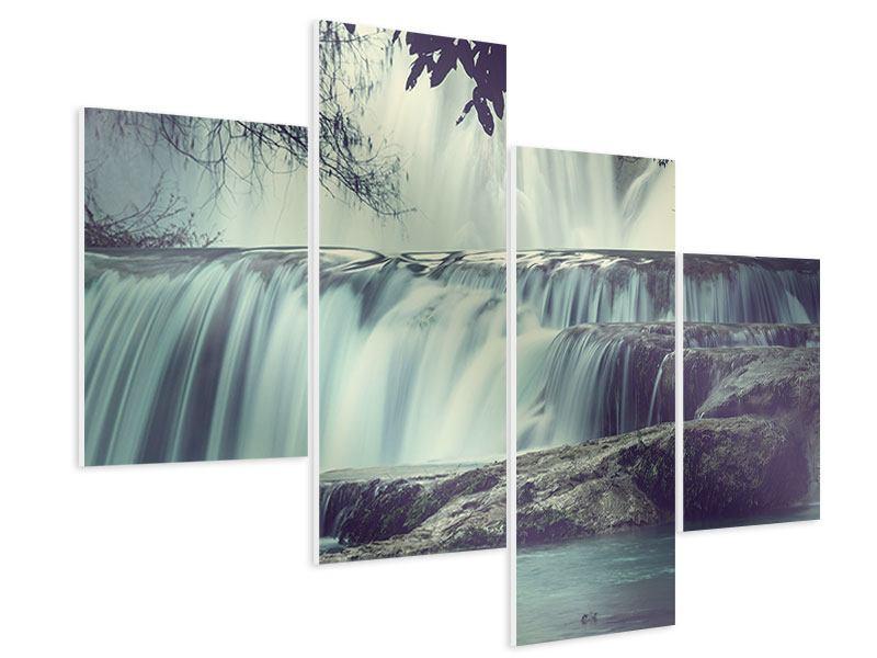 Hartschaumbild 4-teilig modern Wasserfall Mexiko