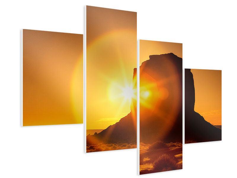 Hartschaumbild 4-teilig modern Sonnenuntergang Monument Valley