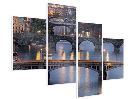 Hartschaumbild 4-teilig modern Brücken in Prag