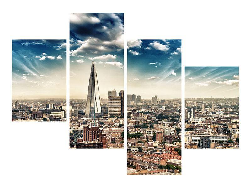 Hartschaumbild 4-teilig modern Skyline Über den Dächern von London