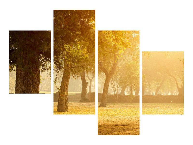 Hartschaumbild 4-teilig modern Romantik unter Bäumen