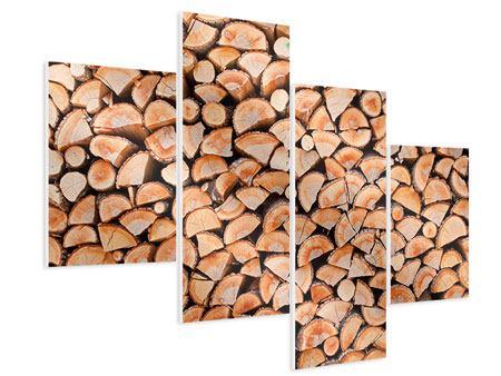 Hartschaumbild 4-teilig modern Birkenstapel