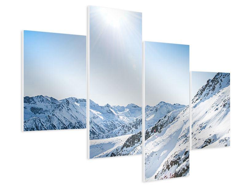 Hartschaumbild 4-teilig modern Bergpanorama im Schnee