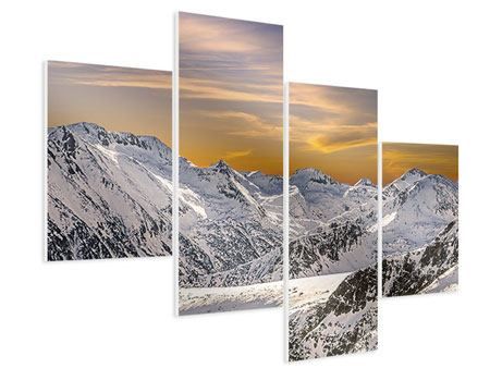 Hartschaumbild 4-teilig modern Sonnenuntergang in den Bergen