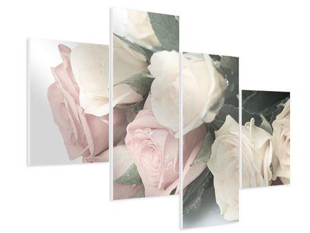 Hartschaumbild 4-teilig modern Rosenromantik