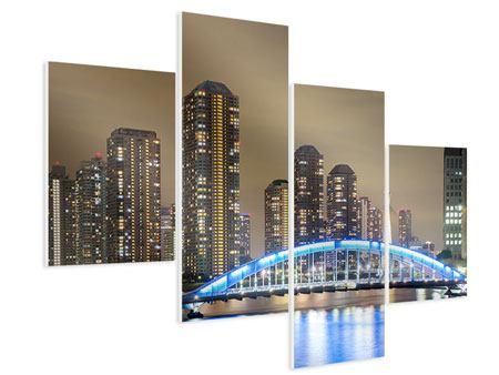 Hartschaumbild 4-teilig modern Skyline Tokio in der Nacht