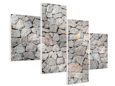 Hartschaumbild 4-teilig modern Grunge-Stil Mauer