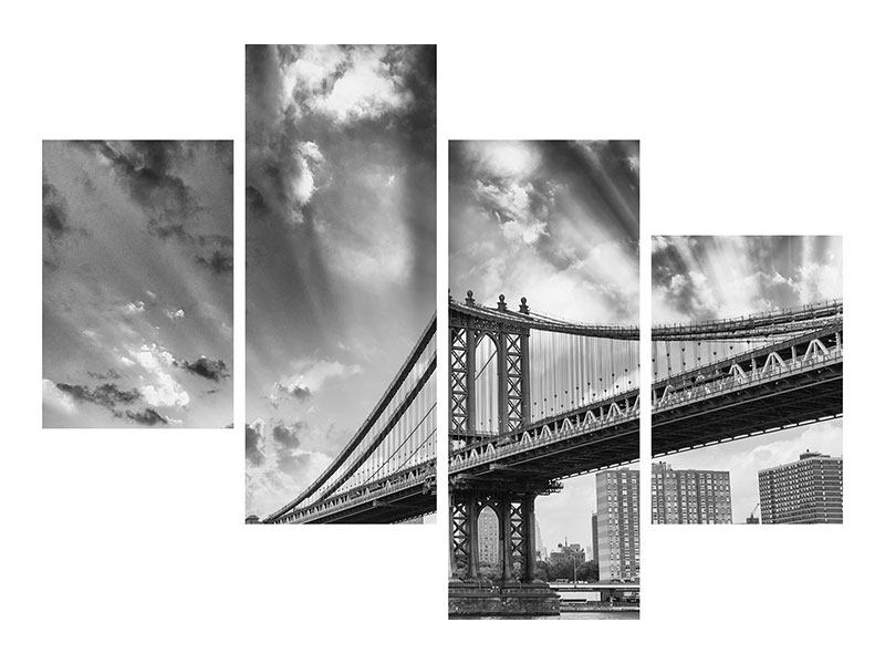 Hartschaumbild 4-teilig modern Manhattan Bridge