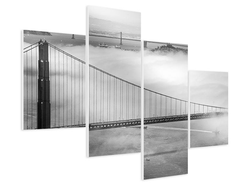 Hartschaumbild 4-teilig modern Golden Gate Brücke