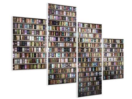 Hartschaumbild 4-teilig modern Bücherregal
