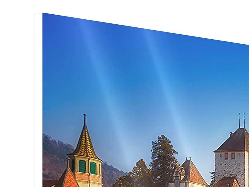 Hartschaumbild 4-teilig modern Schloss Oberhofen am Thunersee