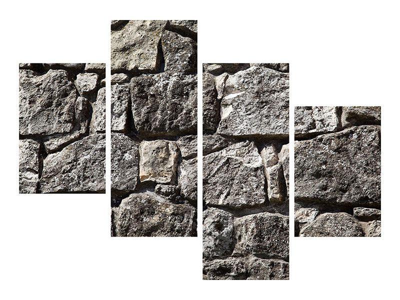 Hartschaumbild 4-teilig modern Grosses Mauerwerk
