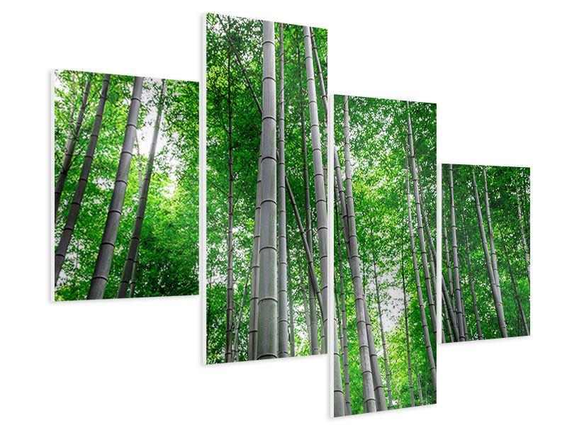 Hartschaumbild 4-teilig modern Bambuswald