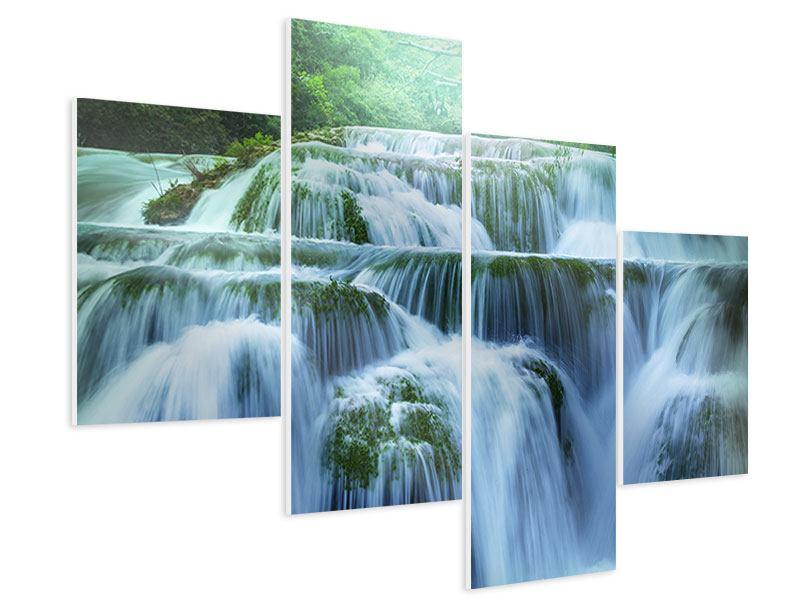 Hartschaumbild 4-teilig modern Gigantischer Wasserfall