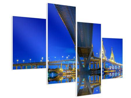 Hartschaumbild 4-teilig modern Bhumiboll-Brücke
