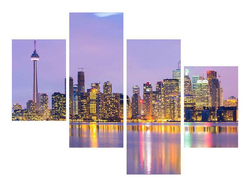Hartschaumbild 4-teilig modern Skyline Toronto bei Nacht