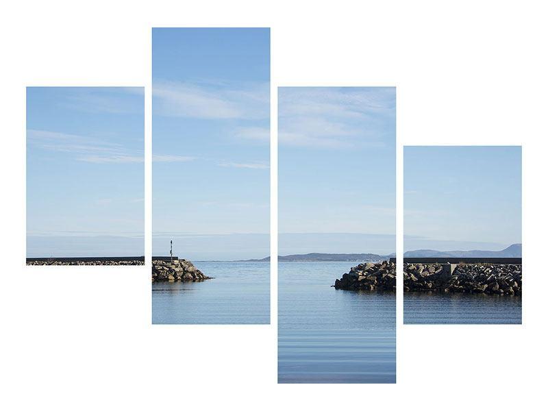 Hartschaumbild 4-teilig modern Hafenmauern