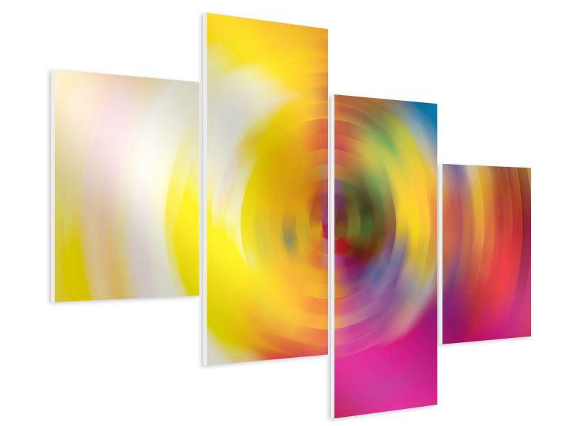 Hartschaumbild 4-teilig modern Abstrakte Farbkreise