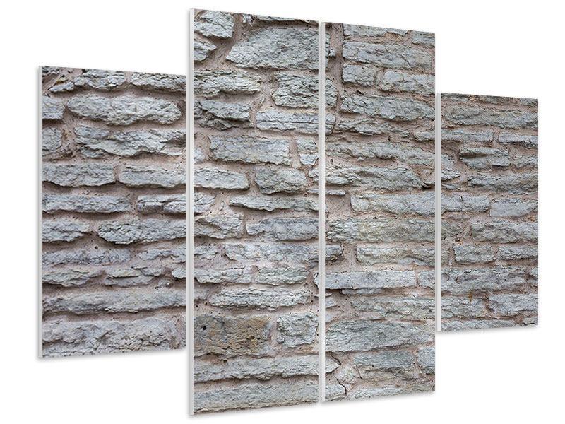 Hartschaumbild 4-teilig Steinmauer
