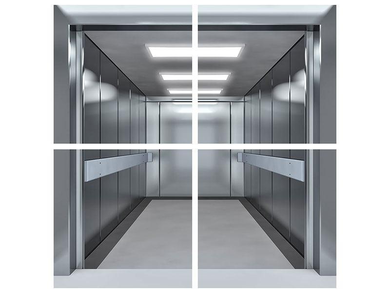Hartschaumbild 4-teilig Aufzug