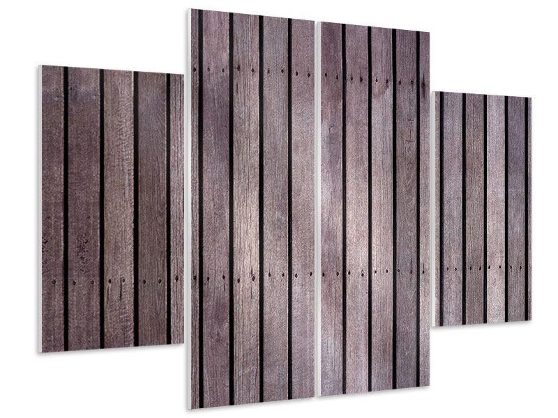 Hartschaumbild 4-teilig Holzwand