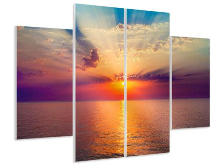 Hartschaumbild 4-teilig Mystischer Sonnenaufgang