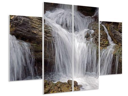 Hartschaumbild 4-teilig Wasserfall XXL