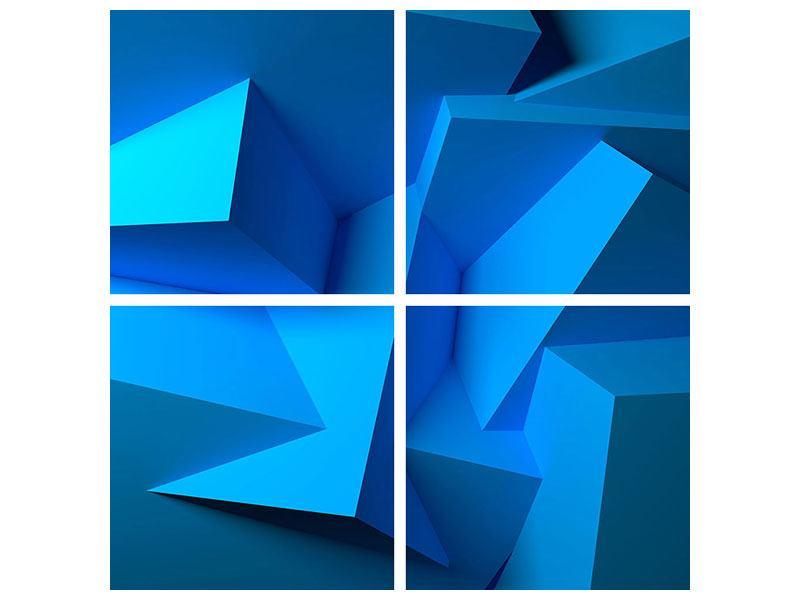 Hartschaumbild 4-teilig 3D-Abstraktion