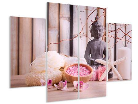 Hartschaumbild 4-teilig Spa + Buddha