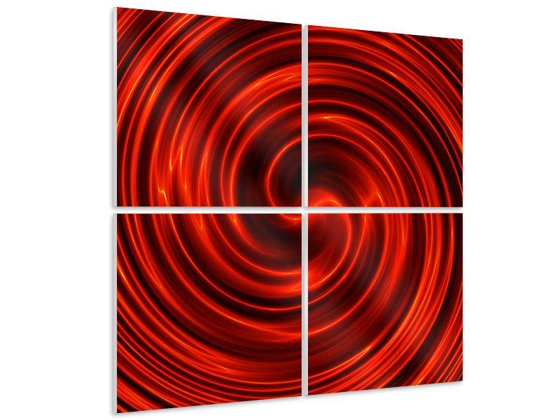 Hartschaumbild 4-teilig Abstrakte Rote Wirbel